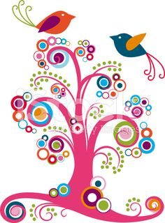 Whimsical Tree with Couple Bird royalty-free vector art illustration