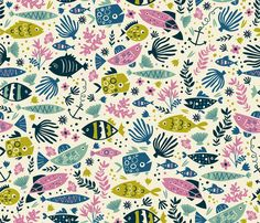 Little Fish fabric by annadeegan on Spoonflower - custom fabric ~ NUMBER 4 of the Fishing Lures Contest! Fish Patterns, Print Patterns, Paper Patterns, Watercolor Wallpaper, Watercolor Fish, Retro Fabric, Little Fish, Fish Design, Pattern Library