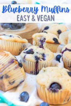 This easy vegan blueberry muffins recipe is so fluffy and delicious! With a simple vanilla, blueberry and lemon flavor, and made without eggs. #veganblueberrymuffins #veganblueberrymuffinrecipe #veganblueberrymuffinsrecipe #veganmuffins #veganmuffinrecipe #vegandessertrecipes