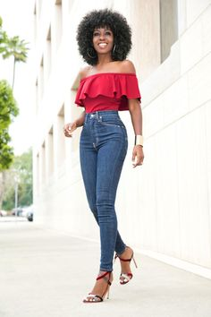 Off Shoulder Frill Blouse + High Waist Levi's Jeans Style Pantry waysify
