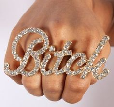 """Gold Iced Out 3 Finger """"Bitch"""" Ring One Size Fits All Basketball Wives Poparazzi: Jewelry"""
