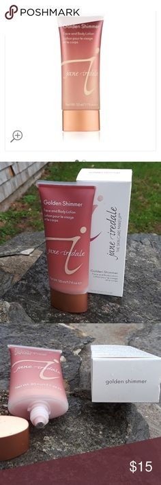 Jane Iredale golden Shimmer face and body lotion NET Our limited edition Golden Shimmer illuminator is back. So, if you haven't already, go ahead and discover your outer goddess with this light-reflecting sheer lotion that creates a shimmering luminosity on the skin. Wear it alone or pair it with your favorite makeup! Never opened jane iredale Makeup Luminizer