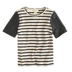 leather-sleeve top in stripe / j.crew