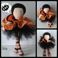 17 inch Modern Ragdoll Halloween theme, with removableskirt and tutu made using a mixture of 100% cotton and 100% wool felt. www.facebook.com/honeybeeforkids