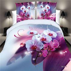 Home Textiles,Purple Butterfly Flower Pattern 3D Bedding Sets 4Pcs Duvet Cover Bed Sheet Pillowcase Bedclothes Queen Size #Affiliate