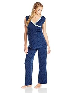 Lamaze Maternity Women's Maternity Short Sleeve and Pant Pajama Set, Blue, Medium Maternity Sleepwear, Maternity Shorts, Nursing Pajamas, Bikini For Women, Becca, Pj, Pajama Set, Jumpsuit, Lingerie