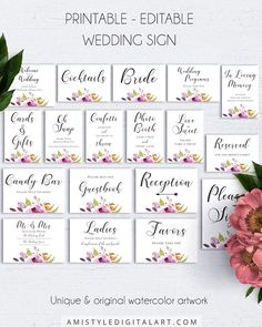 Bohemian Wedding Signs Bundle Customizable Poster Wedding