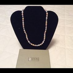 "Honora Pearl 18"" Multi Pastel Color Necklace Honora Pearl Multi Color Pastel Necklace. Measures 18"" has lobster claw clasp and comes with storage bag. Really pretty pale colors ( gold, gray, cream, peach). Would make a nice gift for a pearl lover. Honora Jewelry Necklaces"