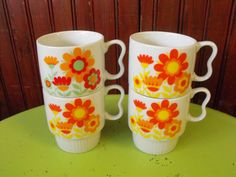 Vintage Made in Japan Funky Flower Coffee Mugs Set of 4 by peacenluv72 on Etsy