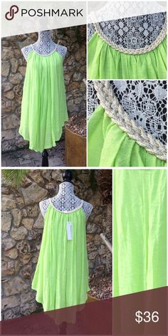 Gorgeous Lime Beach Dress Beautiful polyester/ rayon blend, fully lined, cut in shoulders, gold metallic thread woven in braided band at neckline, flattering hemline rises higher at the sides. NWT (#C1 Boutique Swim Coverups