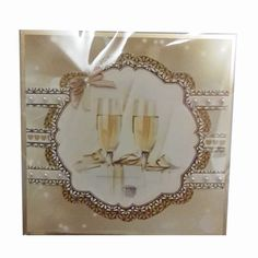 """£3 6x6"""" anniversary card with ribbon and gem details"""