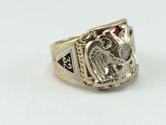 Men's Masonic Ring  DoubleHeaded Eagle  by EstateJewelryMama