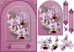 - orchids & butterflies arch with decoupage and sentiments Happy Birthday and one blank Birthday Clips, 3d Sheets, 3d Pattern, Paper Fans, 3d Cards, Decoupage Paper, Greeting Cards Handmade, Handmade Crafts, Scrapbook Paper