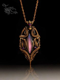 Wire weave copper necklace with Labradorite garnet
