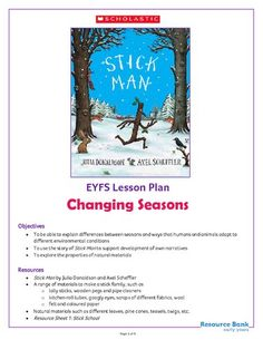 This home learning activity pack is based on Julia Donaldson's magical storybook Stick Man. Seasons Activities, Eyfs Activities, Nursery Activities, Preschool Activities, Gruffalo Activities, Home Learning, Always Learning, Stickman Julia Donaldson, Months In A Year