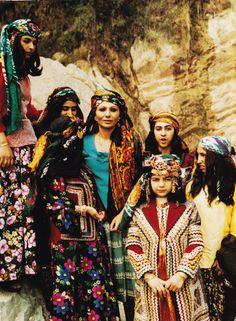 Iranian Queen Shahbanu Farah Pahlavi visits the Province Lorestan in 1975.