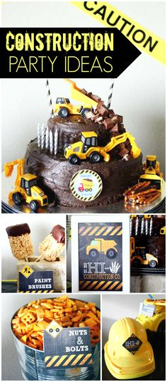 This construction party is so creative! Love the fun food ideas! See more party ideas at CatchMyParty.com!