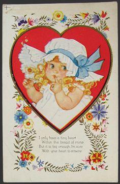 Child with Bonnet Valentine Postcard