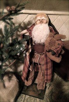 Handmade Primitive Santa by HeartFeltPrims on Etsy