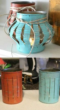 Yes, you can buy stunning lanterns and lamps online. But how about trying to make some DIY lanterns this time. It will help to give a nice personal touch to your decoration. home diy 13 DIY Lanterns To Light Up Your Outdoor Space : Home Decor Projects Tin Can Crafts, Diy And Crafts, Arts And Crafts, Upcycled Crafts, Crafts With Tin Cans, Décor Crafts, Easy Crafts, Diy Upcycled Garden Ideas, Diy Crafts For Adults