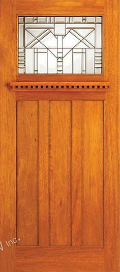 AAW Inc. AC-701-A Arts & Crafts Doors Brazilian Mahogany Craftsman Style Entry Doors with Beveled Glass