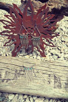 Bohemian boho gypsy long dangle chain earrings necklace set