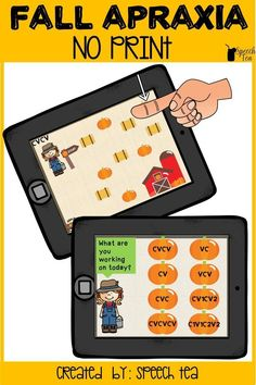 NO PRINT FALL APRAXIA! Looking for no prep? This fall apraxia interactive pdf will be a hit with your students! Multiple syllable shapes and targets included. Have speech therapy planned this fall. Click for more info.
