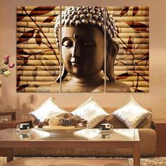 3 Pieces Classical Buddha Painting Solemn Buddhism Wall Canvas Art Asian Religion Ancient Picture For House Decoration Framed Buddha Canvas, Buddha Wall Art, Buddha Painting, Buddha Artwork, Buddha Home Decor, Buddha Kunst, 3 Panel Wall Art, Asian Interior Design, Country Interior