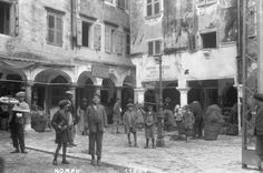 Market activity in the old town of Corfu Hillside Village, Corfu Town, Corfu Island, Corfu Greece, Cypress Trees, Home Pictures, Art And Architecture, Old Town, Old Photos