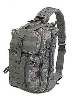 62efd55535c5 Amazon.com   Mens Molle Tan Digital Camo 2L Hydration Ready Sling Bag with  Key Ring Carabiner + 2 Zipper Pulls   Sports   Outdoors