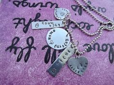 A gift perfect for a Mother or grandmother.  Hand stamped letter by letter from Inspired creations by heidi  www.fb.com/inspiredcreationsbyheidi