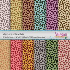 Autumn Cheetah, Digital Paper, Scrapbooking, Paper, 12x12, Printable, Pattern, African, Wild, Animal, Cheetah, Texture, Background by Selegan on Etsy