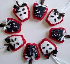 6 plush teacher Apple  Christmas Ornaments. Dont forget the teacher  xmas gifts ...by mommylion, $30.00