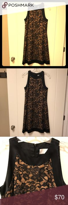 Badgley Mischka Black Lace Evening Dress Beautiful evening/cocktail dress in black lace material with nude underlayer. Lace is in a floral design with black sequins interspersed throughout.  Black silk trim, back zipper.  Excellent preowned condition. Badgley Mischka Dresses