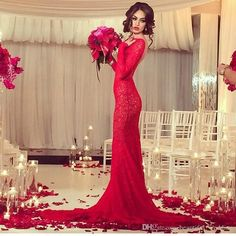 Lace Red Long Sleeve Prom Dress 2015 Vestidos De Fiesta Open Back Long Party Dress Custom Robe De Soiree Red Mermaid Prom Dresses Online with $123.57/Piece on Beautiful_wedding's Store | DHgate.com