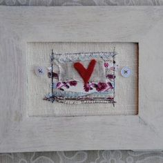 Shabby Chic Felt Heart Embroidered Picture | www.giftwrappedandgorgeous.com