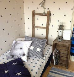 Love the bed textiles and the star wallpaper :) Crate Side Table, Toddler Furniture, Kids Room Design, Kids Bedroom, Kids Rooms, Kid Spaces, Kids Decor, Boy Room, Recycling Ideas