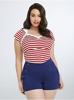 "<p>This tee is for the greaser girls and rockabilly babes. Stretchy-soft red and white striped knit provides a va-va-voom form-fit (curves ahead!). Key details like a lined sweetheart neckline and sailor-inspired collar are a blast from the past.</p>  <p> </p>  <p><b>Model is 5'8"", size 1</b></p>  <ul> 	<li>Size 1 measures 26 1/4"" from shoulder</li> 	<li>Polyester/rayon/nylon</li> 	<li>Wash cold, dry flat</li> 	<li>Imported plus size tee</li> </ul>"