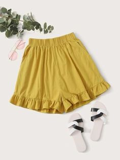 ((Affiliate Link)) Description Style:	Boho Color:	Yellow Pattern Type:	Plain Details:	Pocket, Ruffle Hem Type:	Wide Leg Season:	Summer Composition:	65% Cotton, 35% Polyester Material:	Cotton Fabric:	Non-stretch Sheer:	No Fit Type:	Regular Waist Type:	High Waist Closure Type:	Elastic Waist