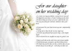Daughter Wedding Quotes The Bride Personalised Poem Poetry For From Pas Day Laminated Ebay Smartvaforu