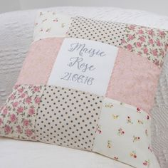 Personalised Sparkly Name And Date Cushion by Tuppenny House Designs, the perfect gift for Explore more unique gifts in our curated marketplace. Baby Pillows, Throw Pillows, Girls Quilts, Kid Quilts, Personalised Cushions, Gold Nursery, Patchwork Cushion, Little Girl Gifts, Bunny Toys