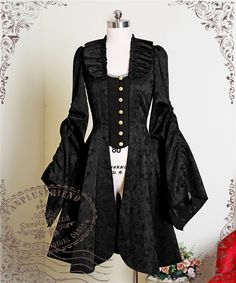 Fashion Lolita Punk Gothic Ladies Party Jacquard Puff Sleeve Cosplay Costume Dress Skirt Coat Free Shipping
