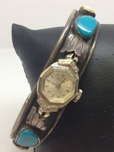 VINTAGE DECOK CUFF TURQUOISE BANGLE WATCH