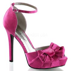FABULICIOUS LUMINA-36 Hot Pink Satin Peep Toe Pumps