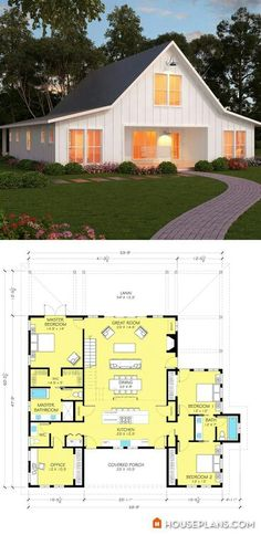 Farmhouse Style House Plan 3 Beds 250 Baths 2720 SqFt Plan 888