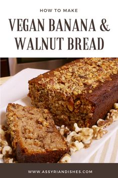 Learn How to make Vegan Banana & Walnut Bread with Assyrian Dishes! Quick Vegan Meals, Quick Easy Desserts, Healthy Foods To Eat, Healthy Smoothies, Vegan Recipes Videos, Vegan Recipes Easy, Baking Recipes, Vegan Breakfast Recipes, Vegan Desserts