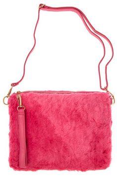Pink Faux Fur Oversized Clutch