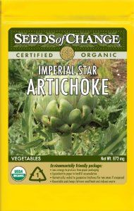 Seeds of Change S21052 Certified Organic Artichoke Imperial Star by Seeds of Change. $4.99. Free of GMO's (genetically modified organisms), chemicals and pesticides. Hermetically sealed package that is re-sealable gives longer life and higher germination rates. Independently tested for high germination rates and purity and meets or exceeds federal standards. Seeds of change contributes 1-percent of net sales to advance the cause of sustainable organic agriculture worldwide...