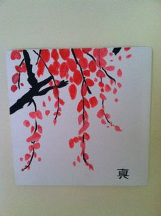 Pink flowered japanese tree with japanese symbol for faith painted on canvas. $30.00, via Etsy.