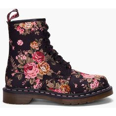 DR. MARTENS Floral Print 8 Eye 1460 W Boots ($91) ❤ liked on Polyvore featuring shoes, boots, ankle booties, botas, zapatos, floral-print boots, floral high tops, lace up boots, low heel ankle booties and low heel booties